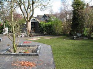 gazon en bestrating tuin